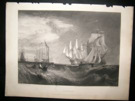 After Turner 1862 Antique Print, Spithead, Naval Ships Maritime, Art Journal